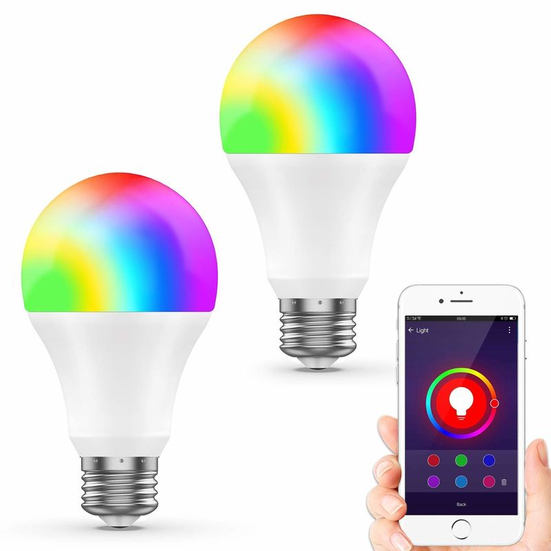 2 Packs Smart Wifi LED Bulb Wireless Remote Controlled 75W Equivalent